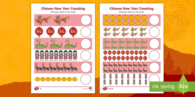 New Year Counting Worksheets