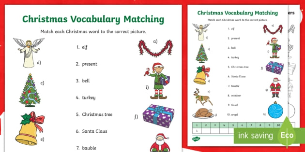 Christmas Word Matching Worksheets