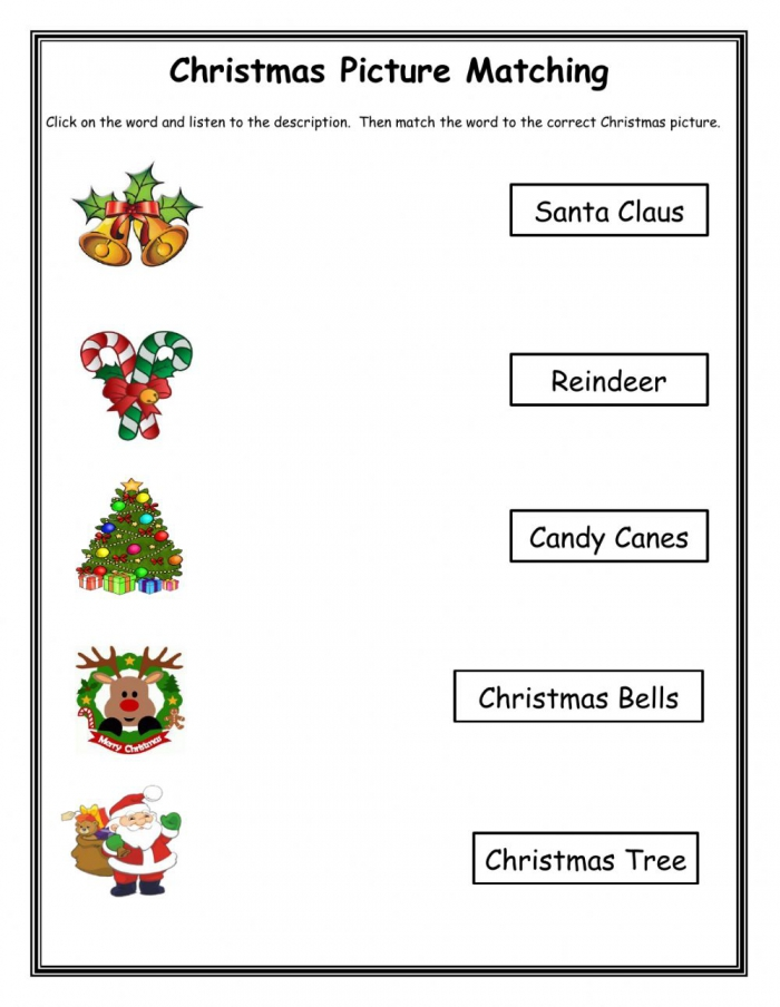 Christmas Pictures Matching Worksheets