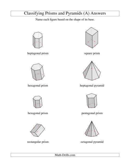 Classifying Prisms And Pyramids A