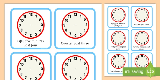 Clock Faces Five Minute Interval Times