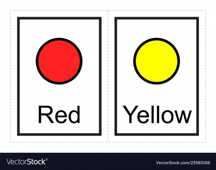 Color Flash Cards For Kids Learn About Colors Vector Image