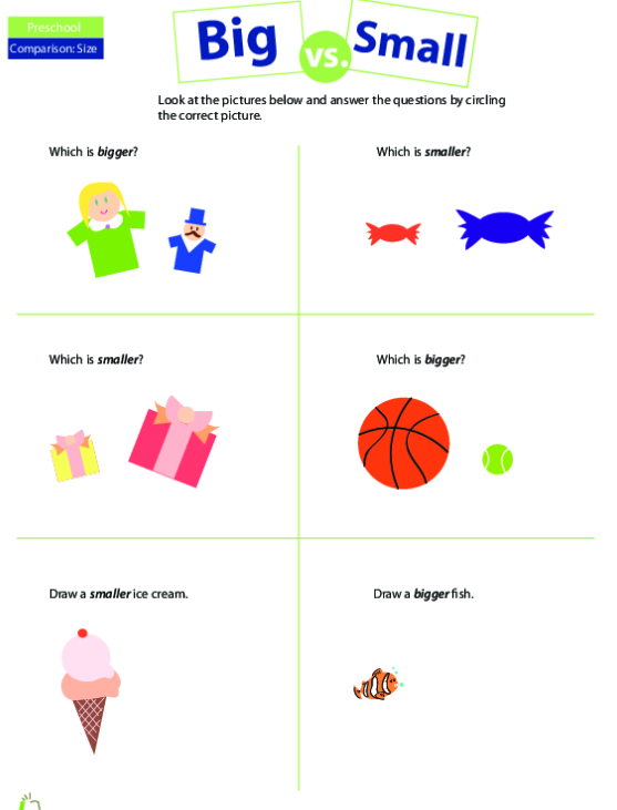 Learn Sizes – Big And Small Worksheets