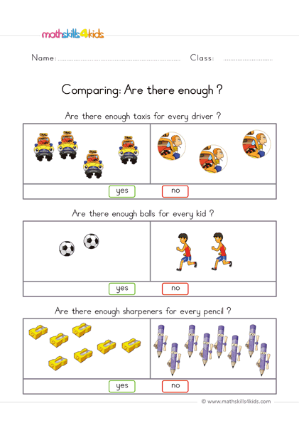 Comparing Worksheets For Preschool