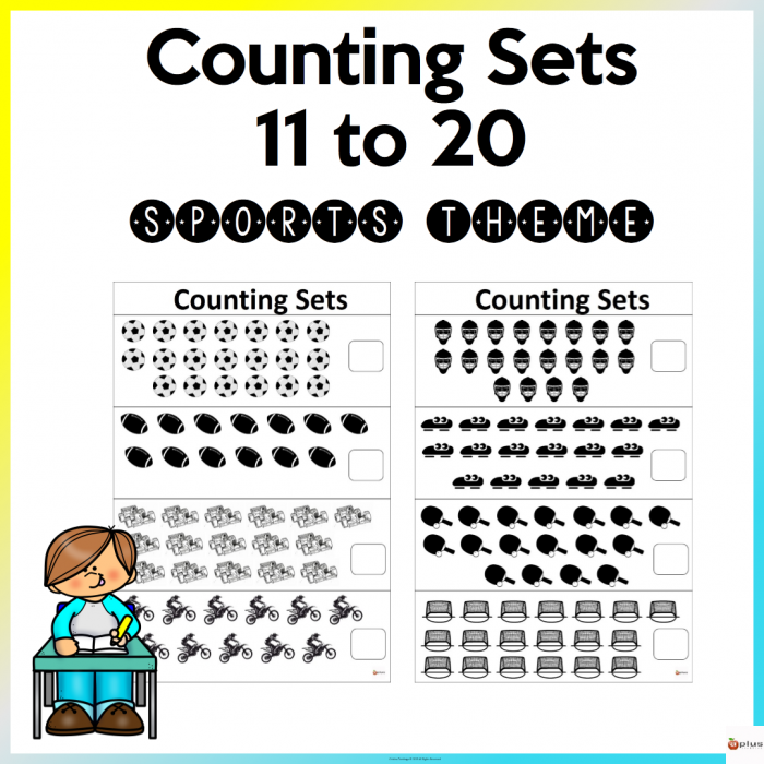 Counting Sets To Worksheets Sports Theme