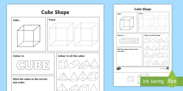 Cube Shapes Worksheet