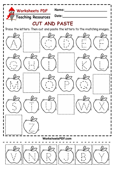 Cutting Letters Worksheets