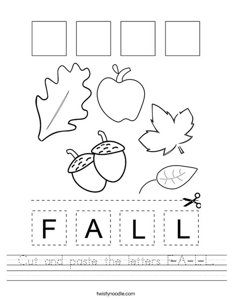Fall Beginning Letters Worksheets