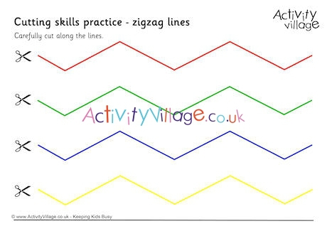 Cutting Practice Worksheets – Zig Zag Lines