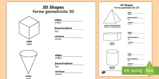 D Shape Properties Worksheet Worksheets Englishitalian
