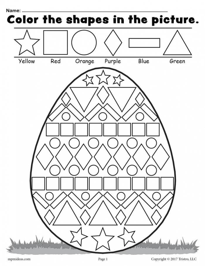 Easter Color The Patterns Worksheets