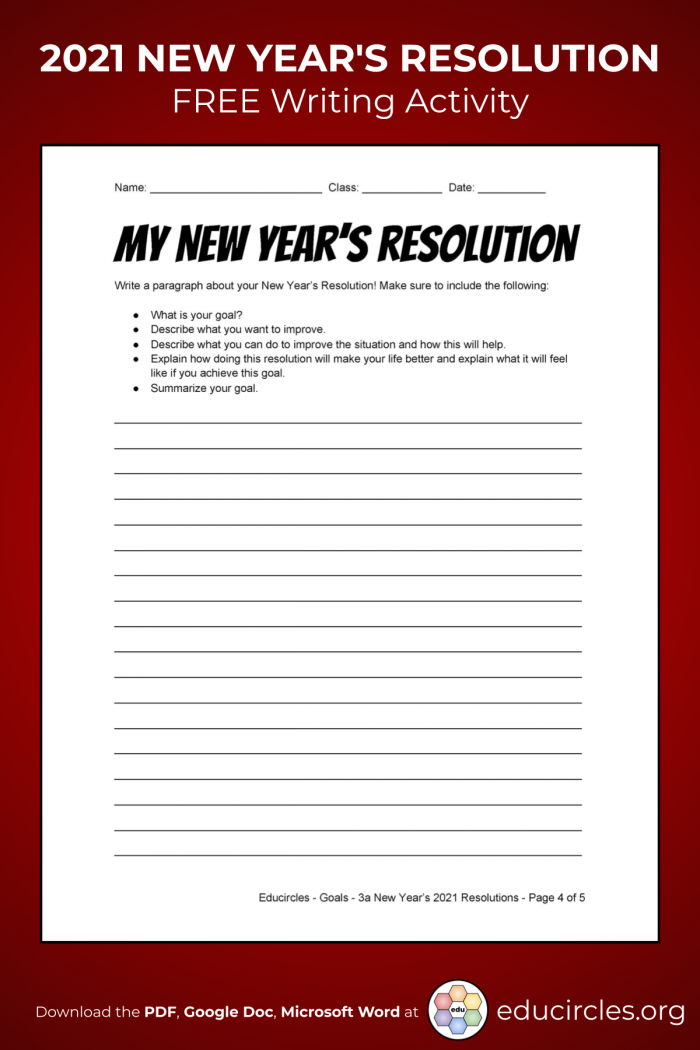 New Year's Resolution Worksheets