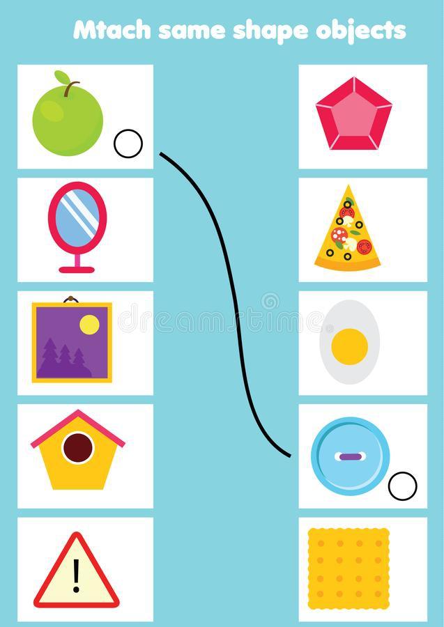 Educational Children Game Matching Game Worksheet For Kids Match