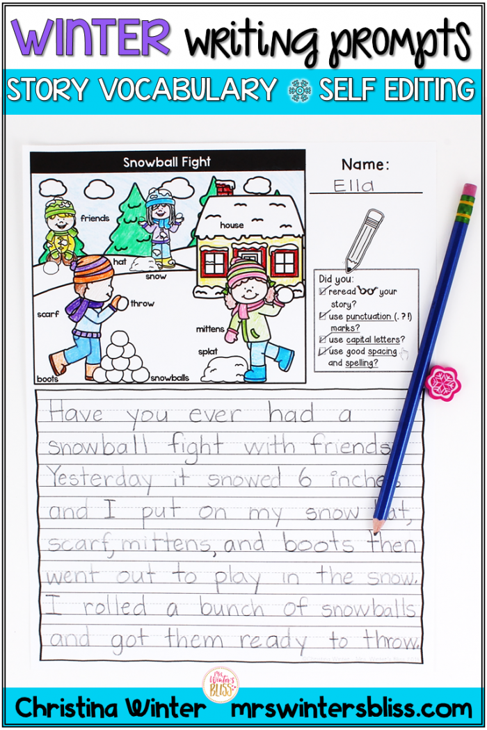 Picture Prompt Writing Worksheets – Snowball Story