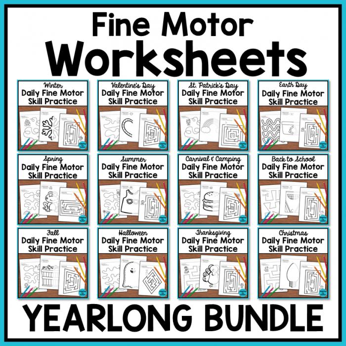 Fine Motor Worksheets Yearlong Bundle Autism Work Tasks