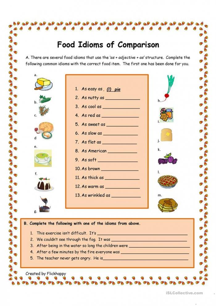 Food Idioms Of Comparison