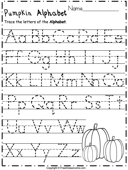Free Alphabet Trace Letters For Pre