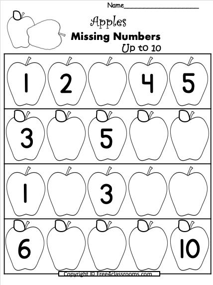 Free Apple Numbers Math Worksheets