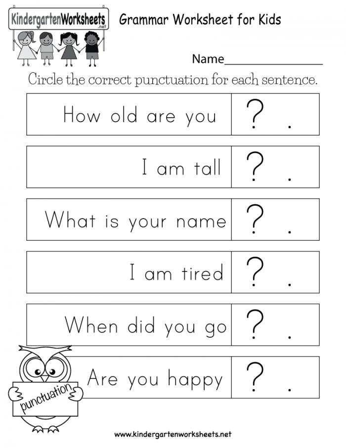 Grammar Worksheet For Kids