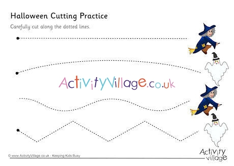 Halloween Cutting Lines Worksheets