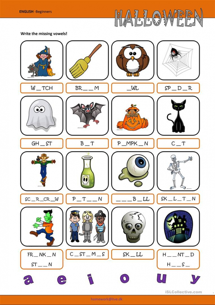 Halloween Worksheets – Fill In The Missing Vowels
