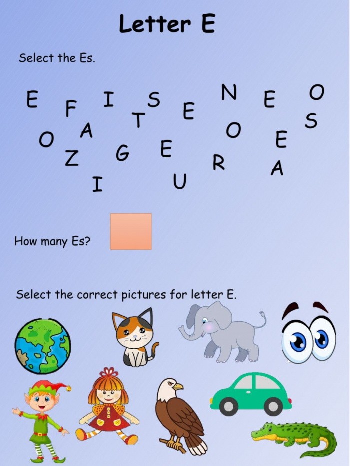 Interactive Worksheet Letter E