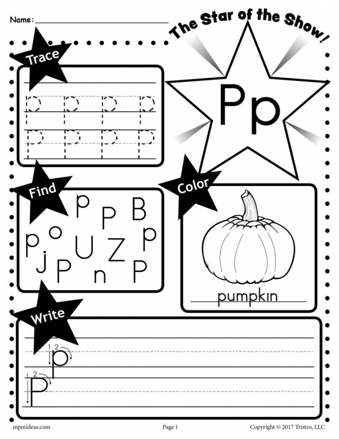 Fall Letter P Is For Pumpkin Worksheets