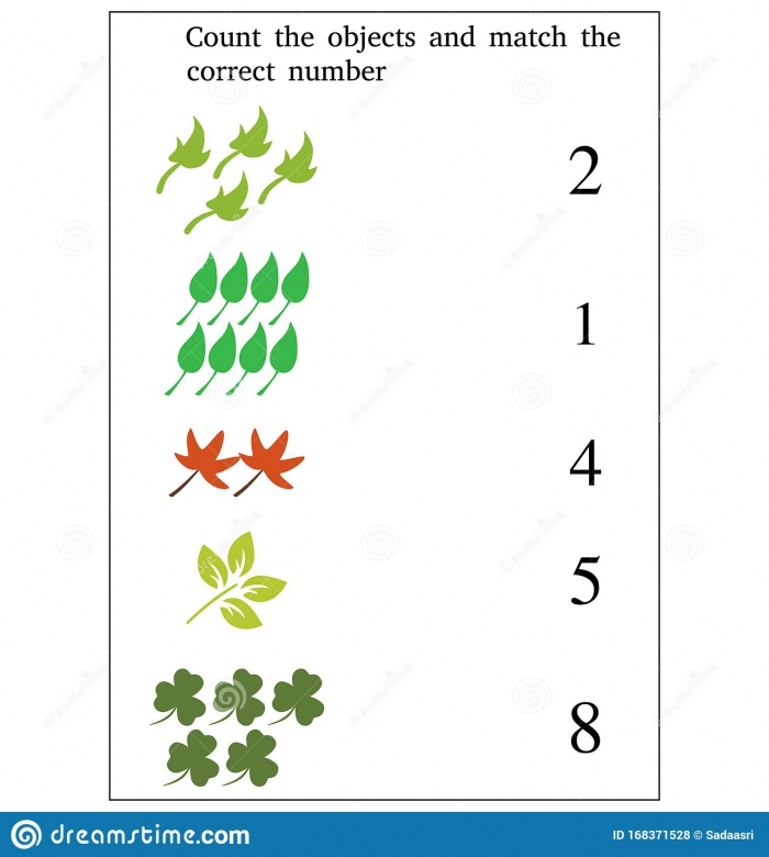 Match The Numbers To The Objects Worksheet For Preschool