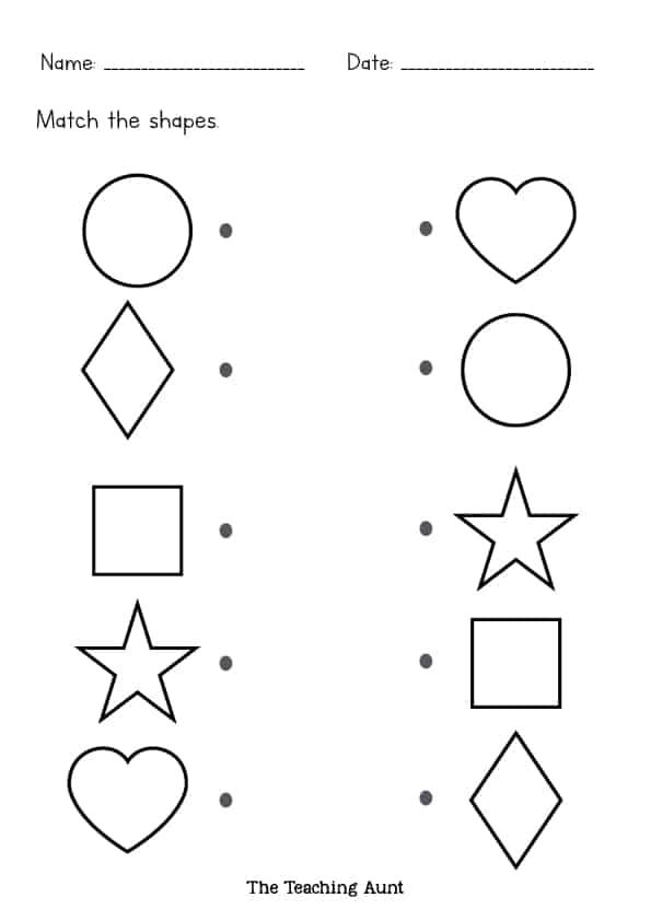 Same Shape Worksheets – Black And White