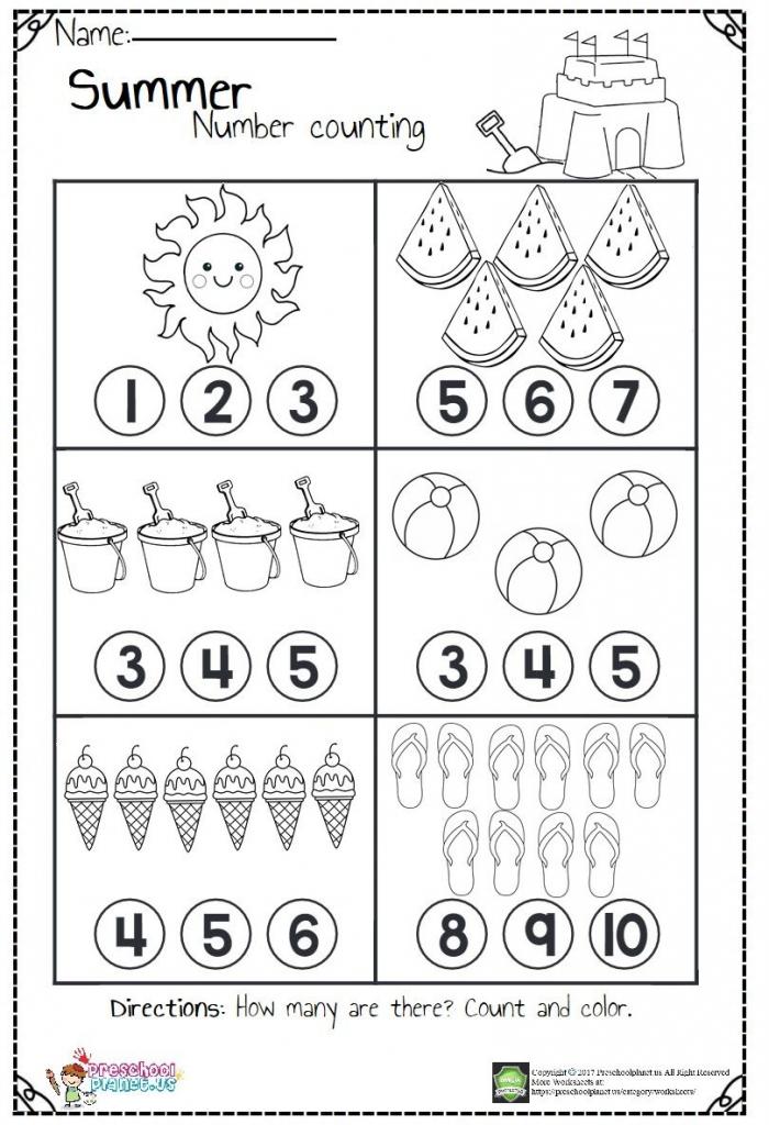 Summer Number Matching Worksheets