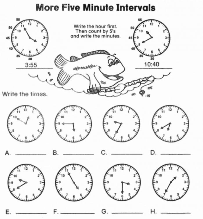 More Minute Intervals Worksheet
