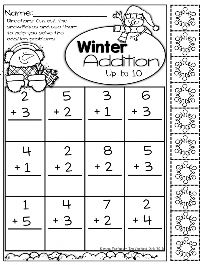 Snowflakes Counting Worksheets – Number Two