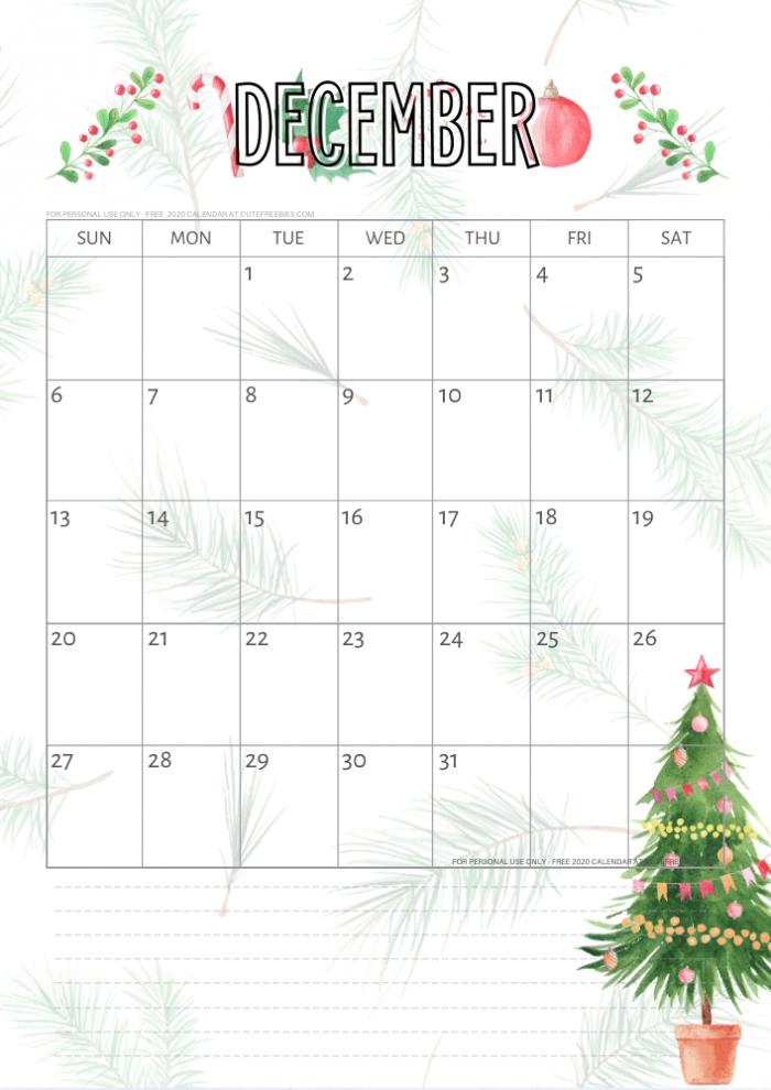 Printable December Calendar With Christmas Theme