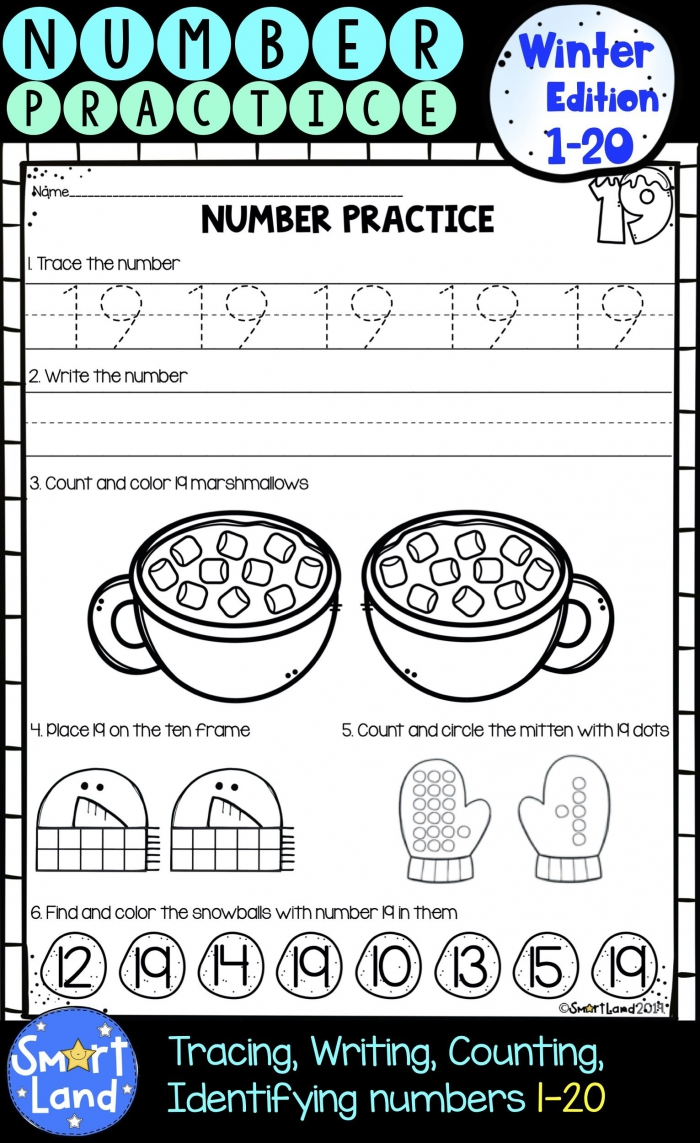 Mittens Counting Worksheets – Number Nineteen
