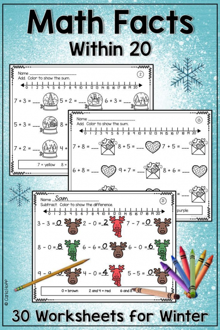 Winter Number Line Worksheets