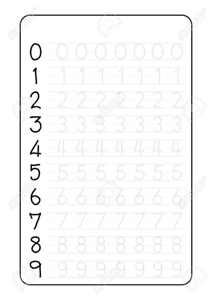 Practice Writing Numbers On A Worksheet Vector Illustration