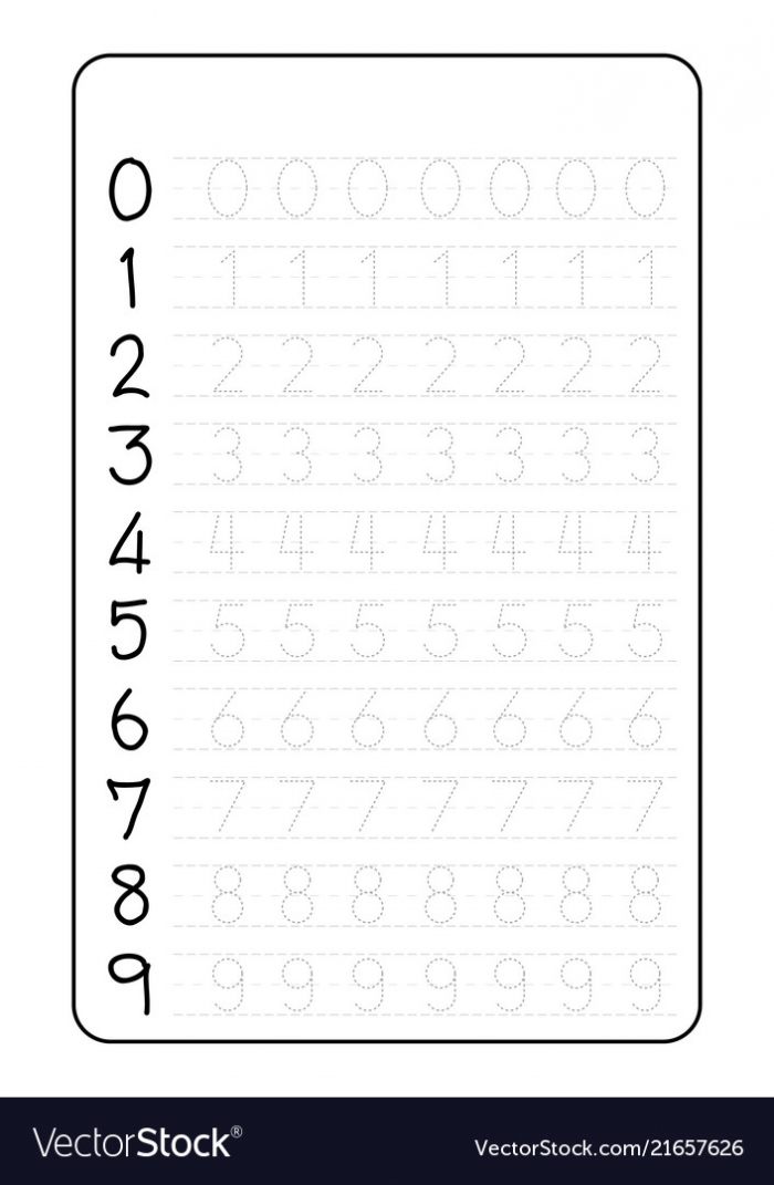 Practice Writing Numbers On A Worksheet Vector Image