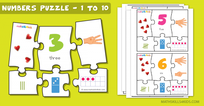 Printable Number Matching Puzzles