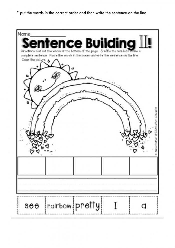 Fall Sentence Building Worksheets
