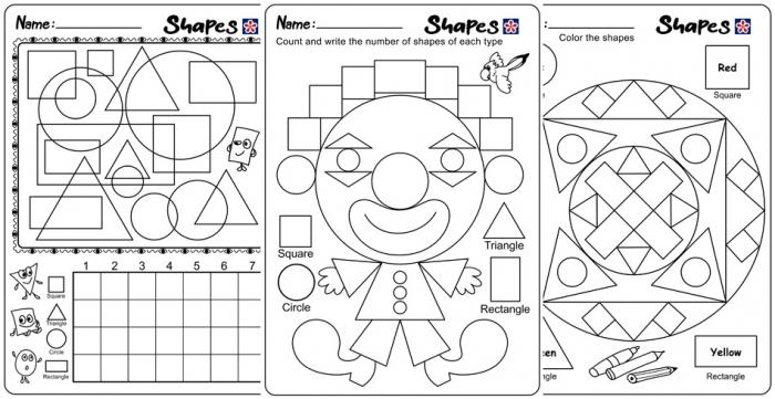 Shapes And Colors Worksheets For Kindergarten Students