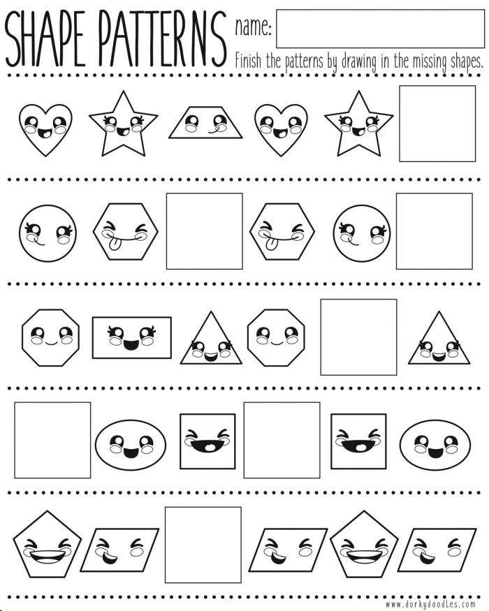 Shapes And Pattern Practice Printable Worksheet Dorky Doodles