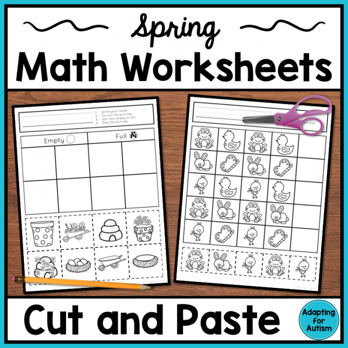 Spring Cut And Paste Patterns Worksheets
