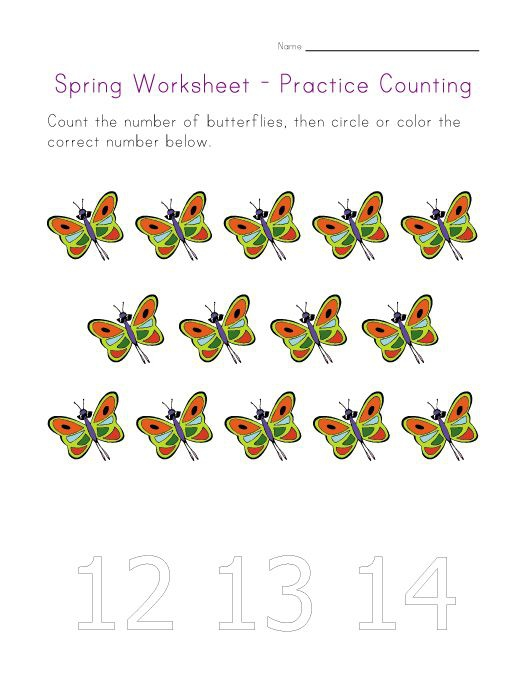Spring Worksheets – Count To Fourteen