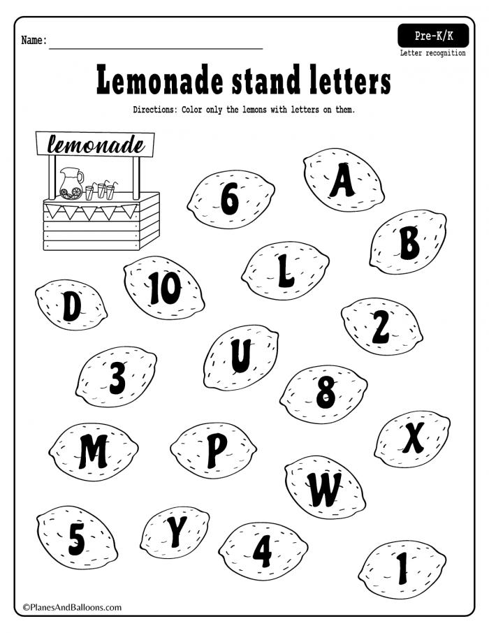 Summer Lemonade Fun Letter Recognition Worksheets Pdf Set For