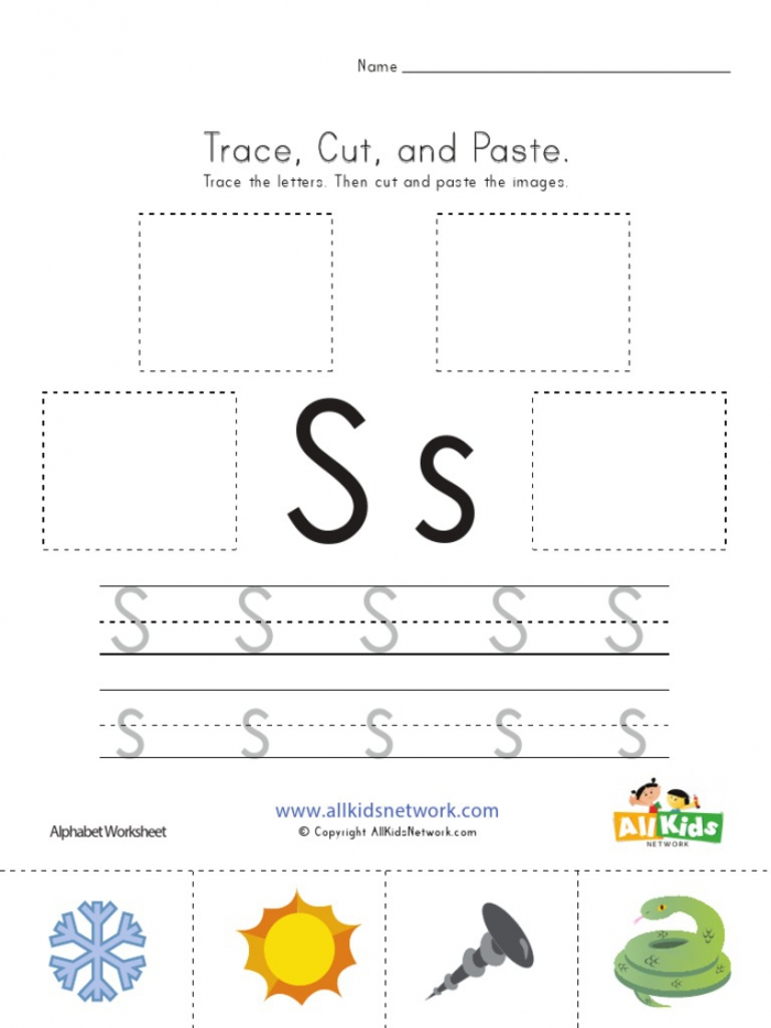 Trace, Cut And Paste Alphabet Worksheets