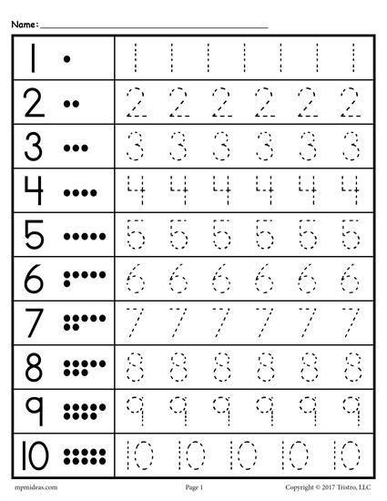 Traceable Numbers Worksheet In