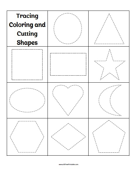 Tracing Coloring Cutting Shapes Worksheets