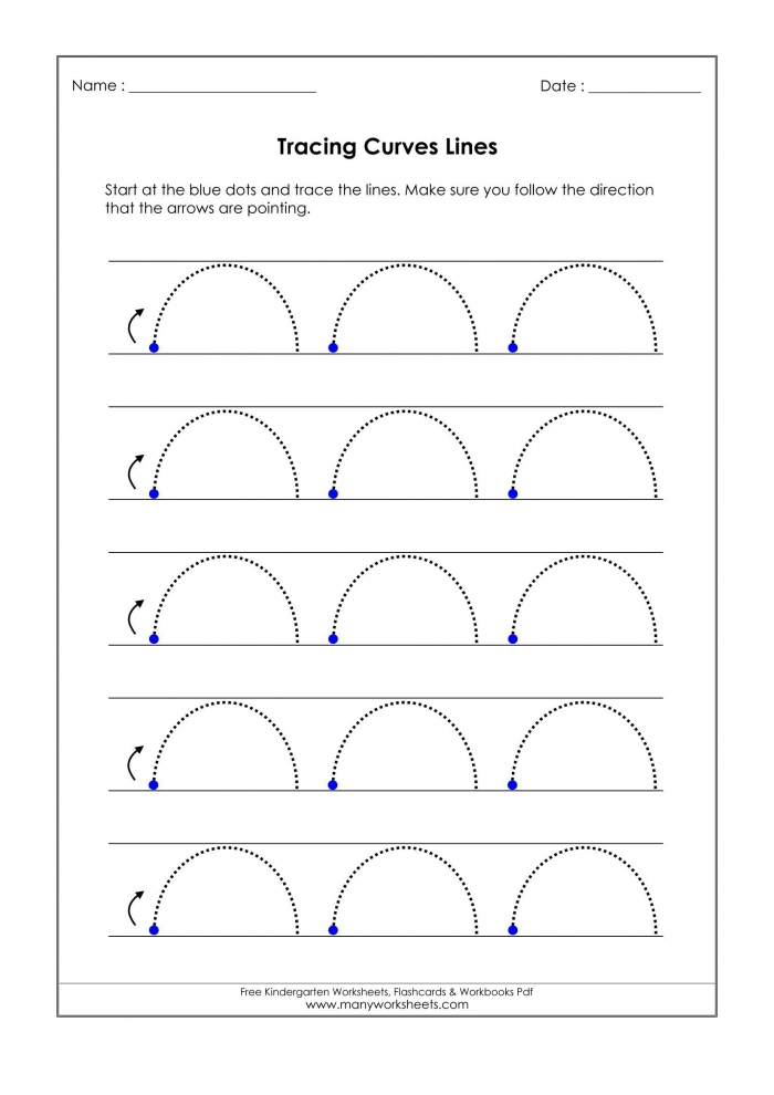 Tracing Curved Lines Worksheets