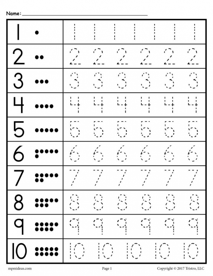 Tracing Worksheets Numbers