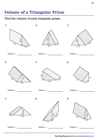 Volume Of Triangular Prisms Worksheets